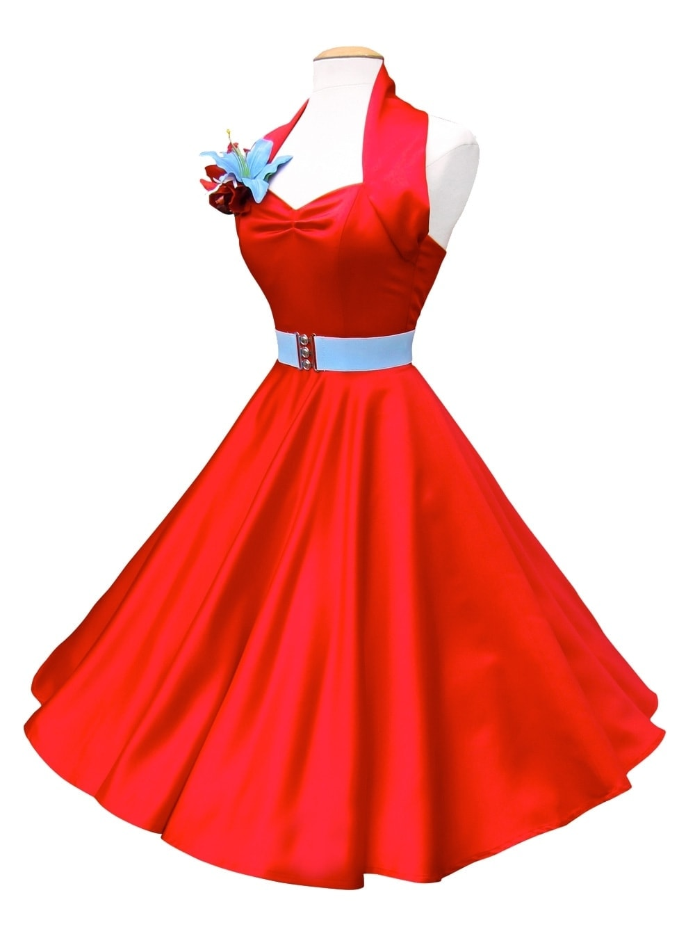 f628507bee6 1950s Halterneck Red Duchess Dress from Vivien of Holloway