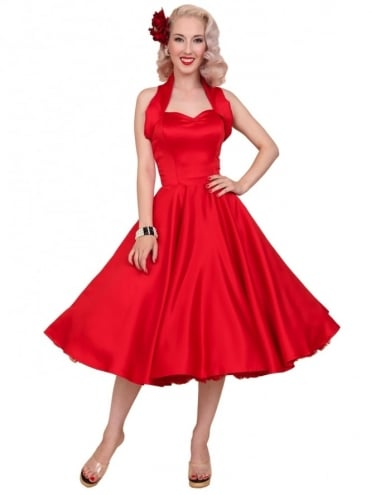 1950s Halterneck Red Duchess Dress