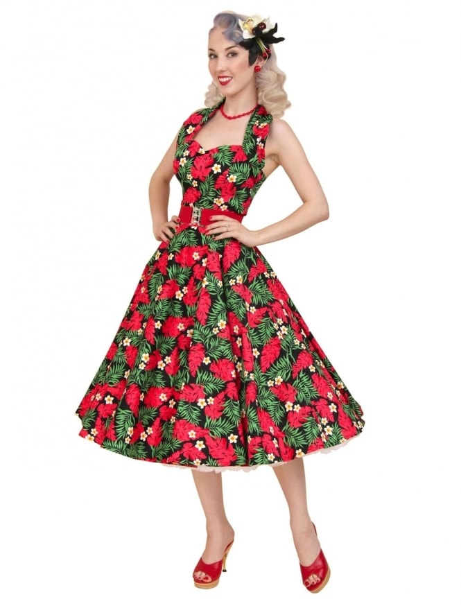 50s-1950s-Vivien-of-Holloway-Best-Vintage-Reproduction-Halterneck-Circle-Dress-Red-Palm-Floral-Tropical-Print-Rockabilly-Swing-Pinup