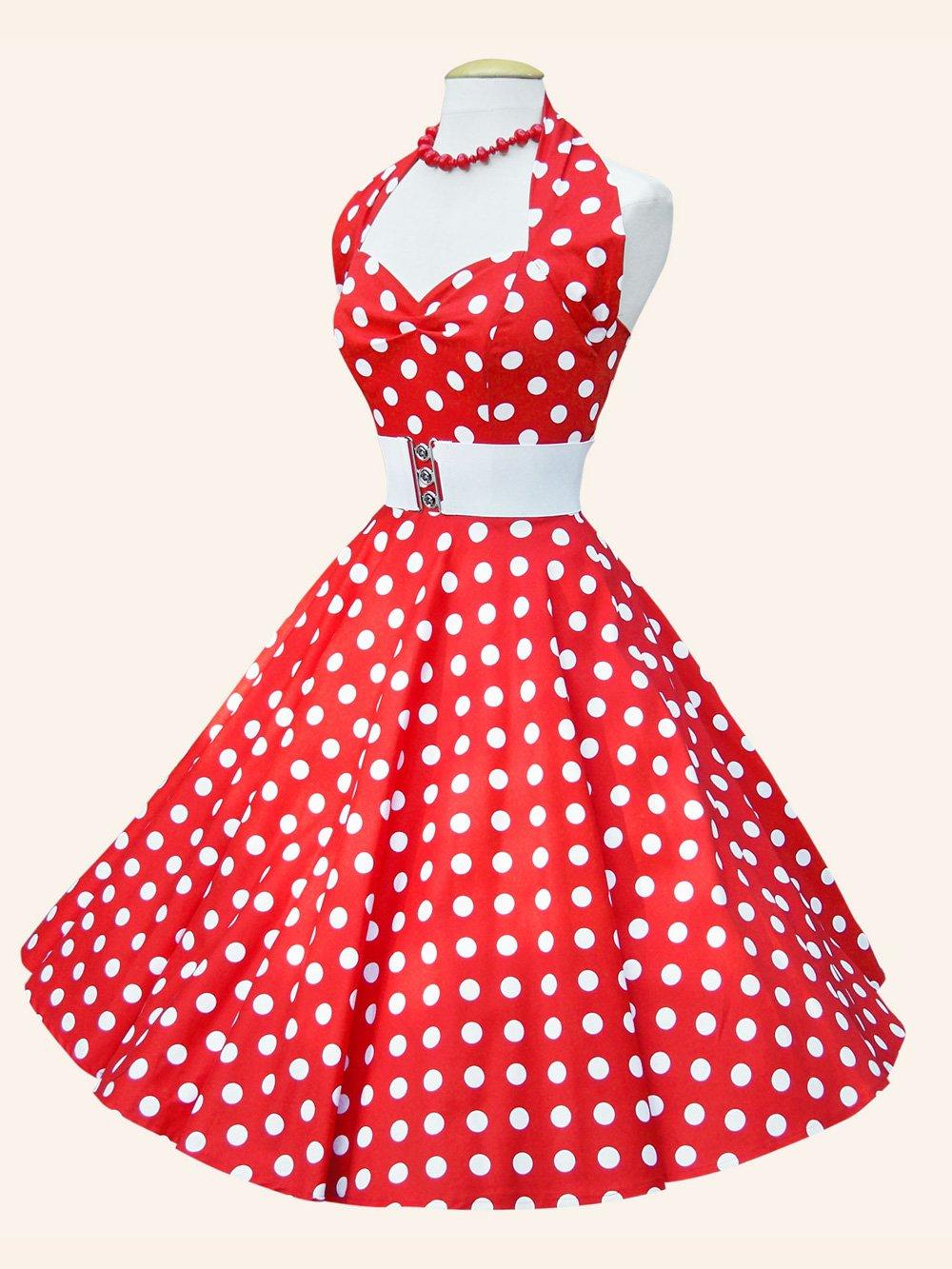 Vintage Polka Dot 1940 S 50 S Tea Dress Green: 1950s Halterneck Red White Polkadot Dress From Vivien Of