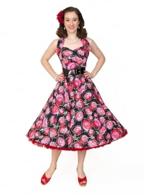 1950s Halterneck Red Rose Dress