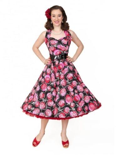 50s-1950s-Vivien-of-Holloway-Best-style-Vintage-Reproduction-Halterneck-Circle-Dress-Red-Rose-Floral-Print-Rockabilly-Swing-Pinup