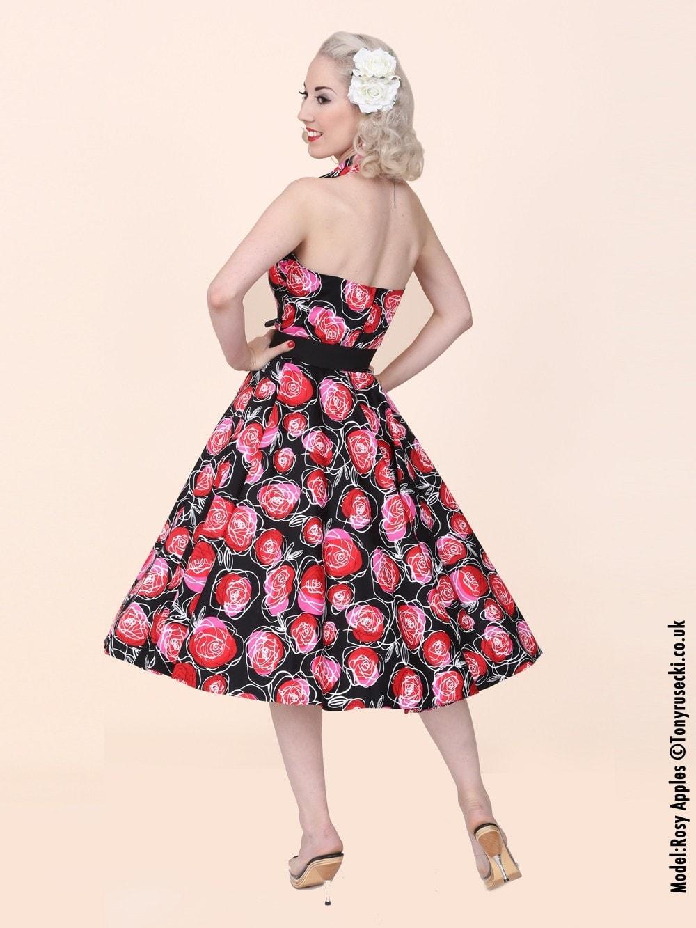 1950s Halterneck Red Rose Dress Bolero Set from Vivien of Holloway