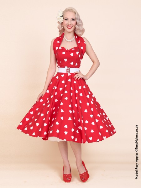 1950s Halterneck Red Sweetheart Dress From Vivien Of Holloway