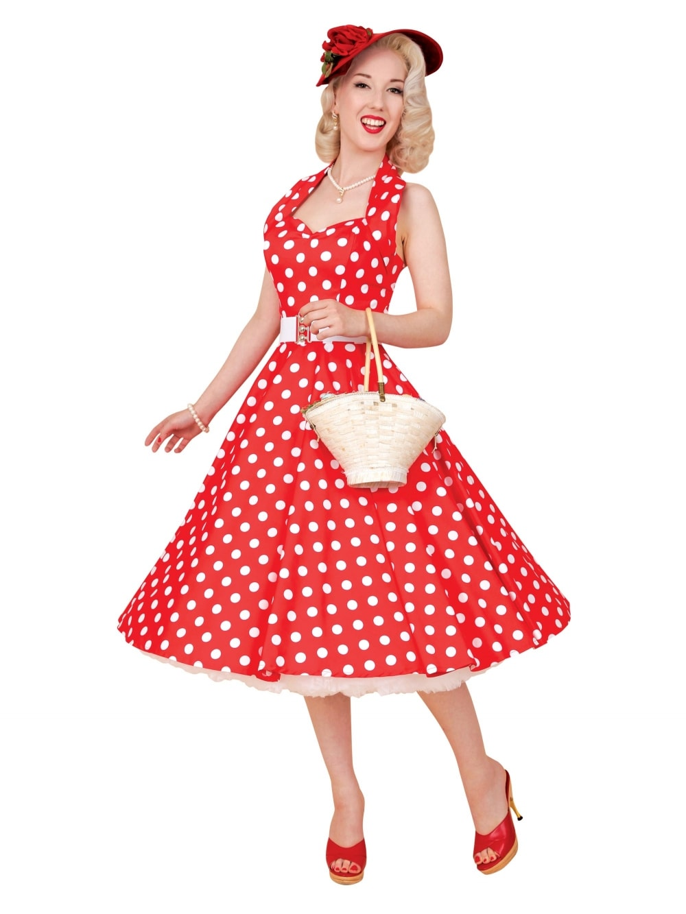 1950s Halterneck Red White Polkadot Dress