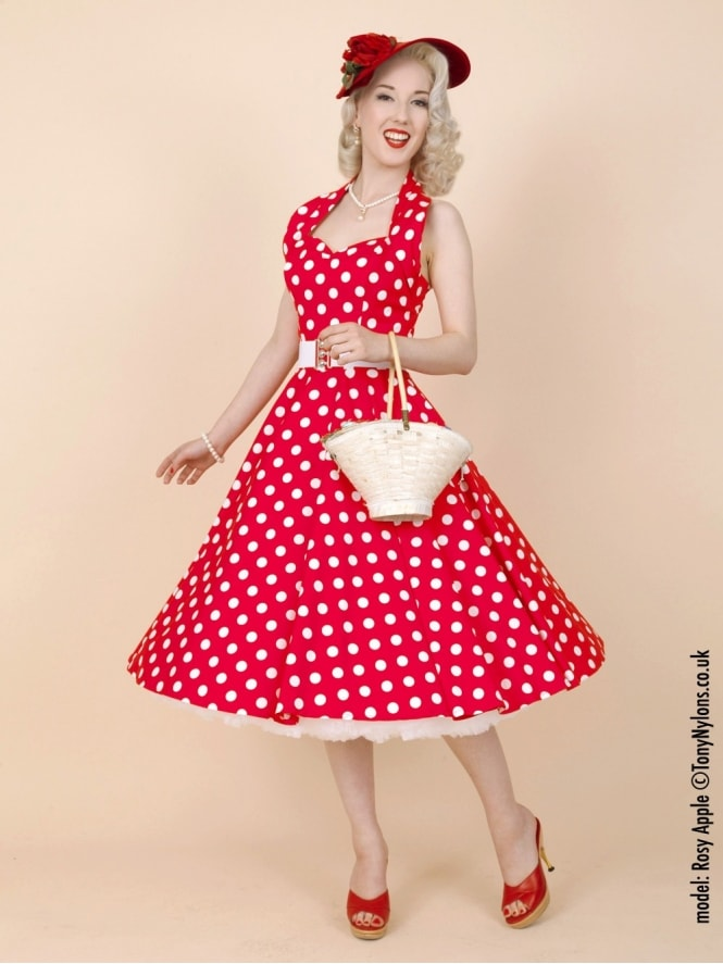 50s-1950s-Vivien-of-Holloway-Best-Vintage-Reproduction-Halterneck-Circle-Dress-Red-White-Polkadot-Rockabilly-Swing-Pinup