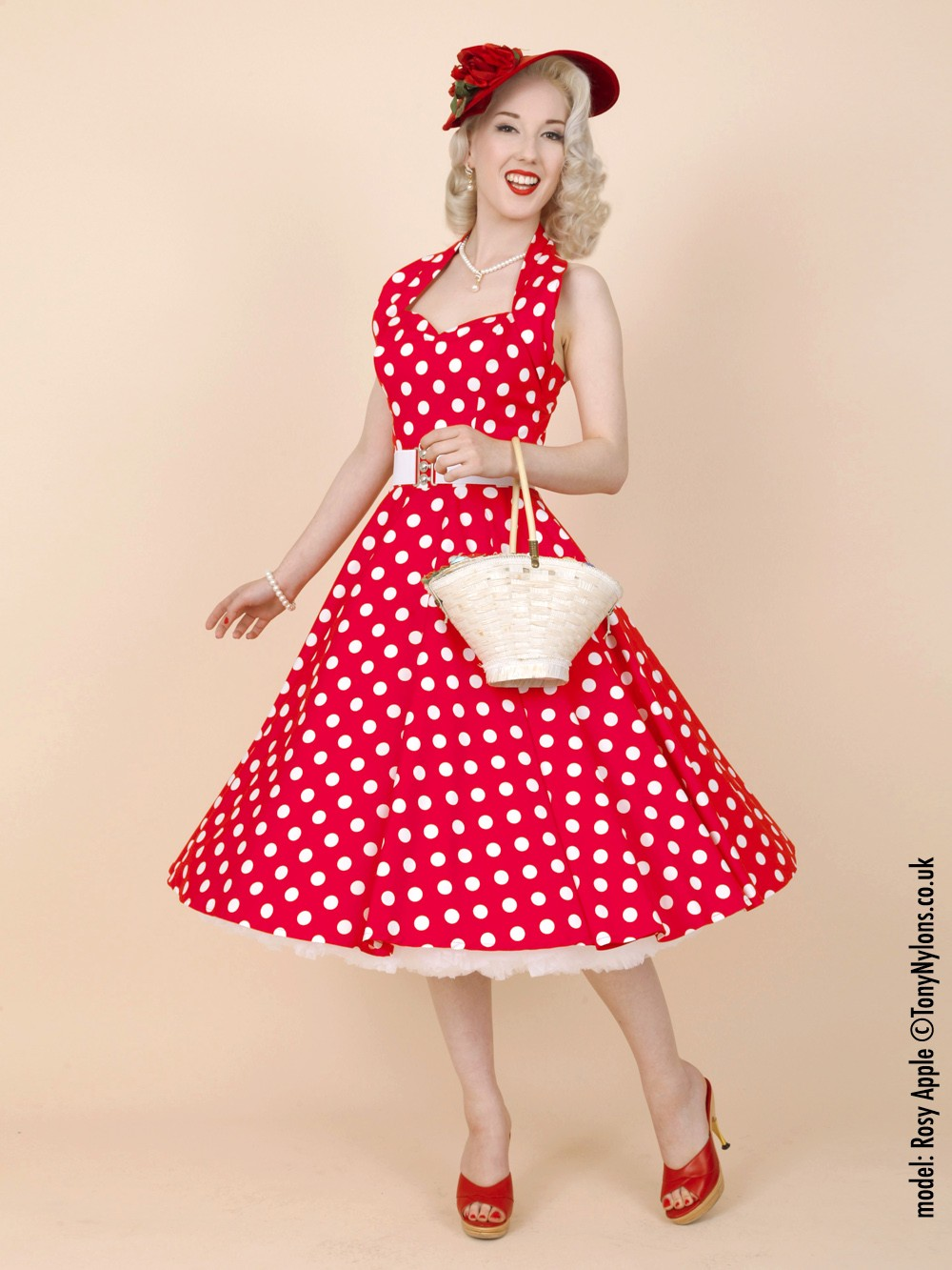 1950s Halterneck Red White Polkadot Dress from Vivien of Holloway