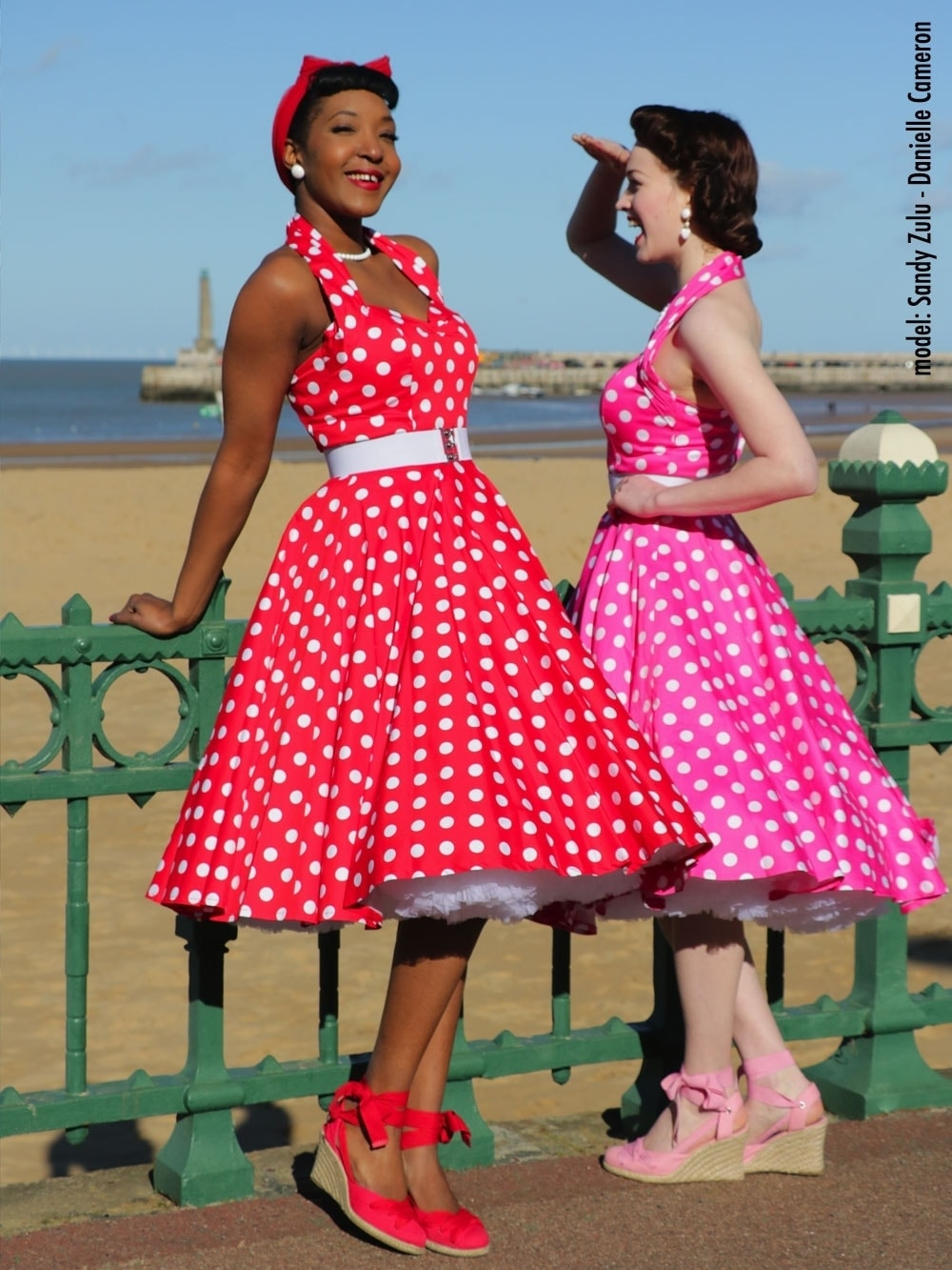 a7a2ee92626 1950s Halterneck Red White Polkadot Dress from Vivien of Holloway