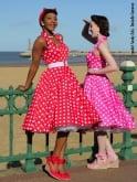 1950s Halterneck Red White Polkadot Dress