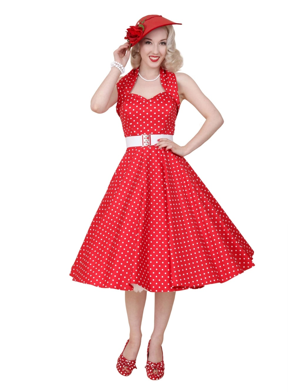 1dc5c4a88d6 1950s Halterneck Red White Spot Dress from Vivien of Holloway