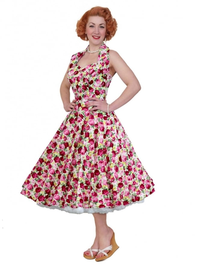 50s-1950s-Vivien-of-Holloway-Best-Vintage-Reproduction-Halterneck-Circle-Dress-Rose-Garden-Floral-Print-Rockabilly-Swing-Pinup