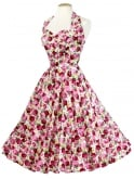 1950s Halterneck Rose Garden Dress