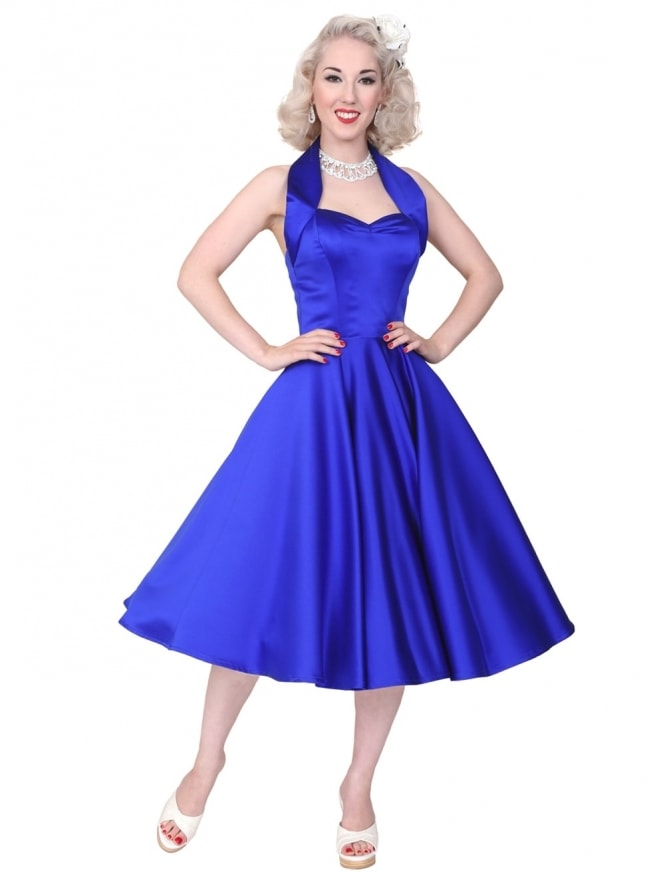 1940s-1950s-Vivien-of-Holloway-Best-Vintage-Reproduction-Halterneck-Circle-Dress-Royal-Blue-Duchess