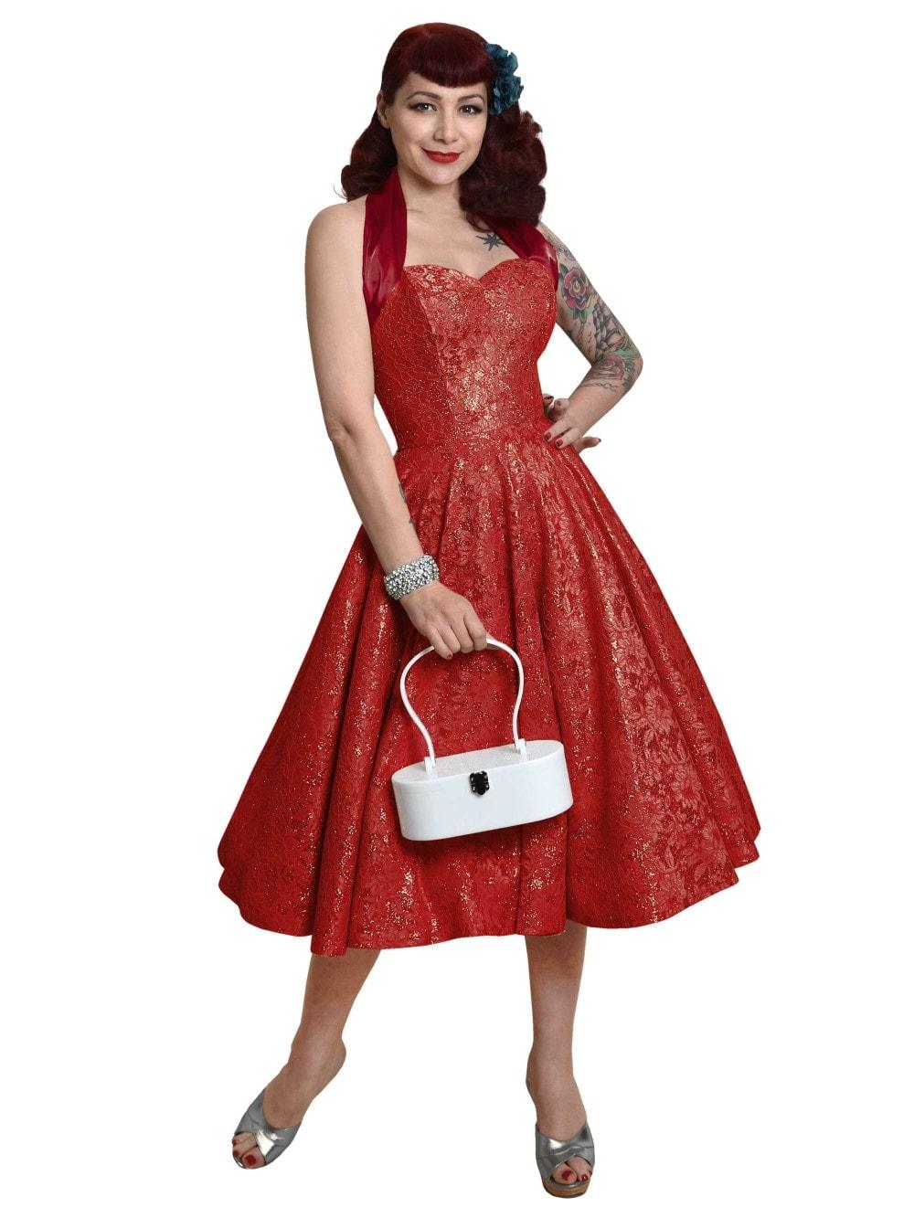 252bbc64 1950s Halterneck Ruby Sparkle Dress from Vivien of Holloway