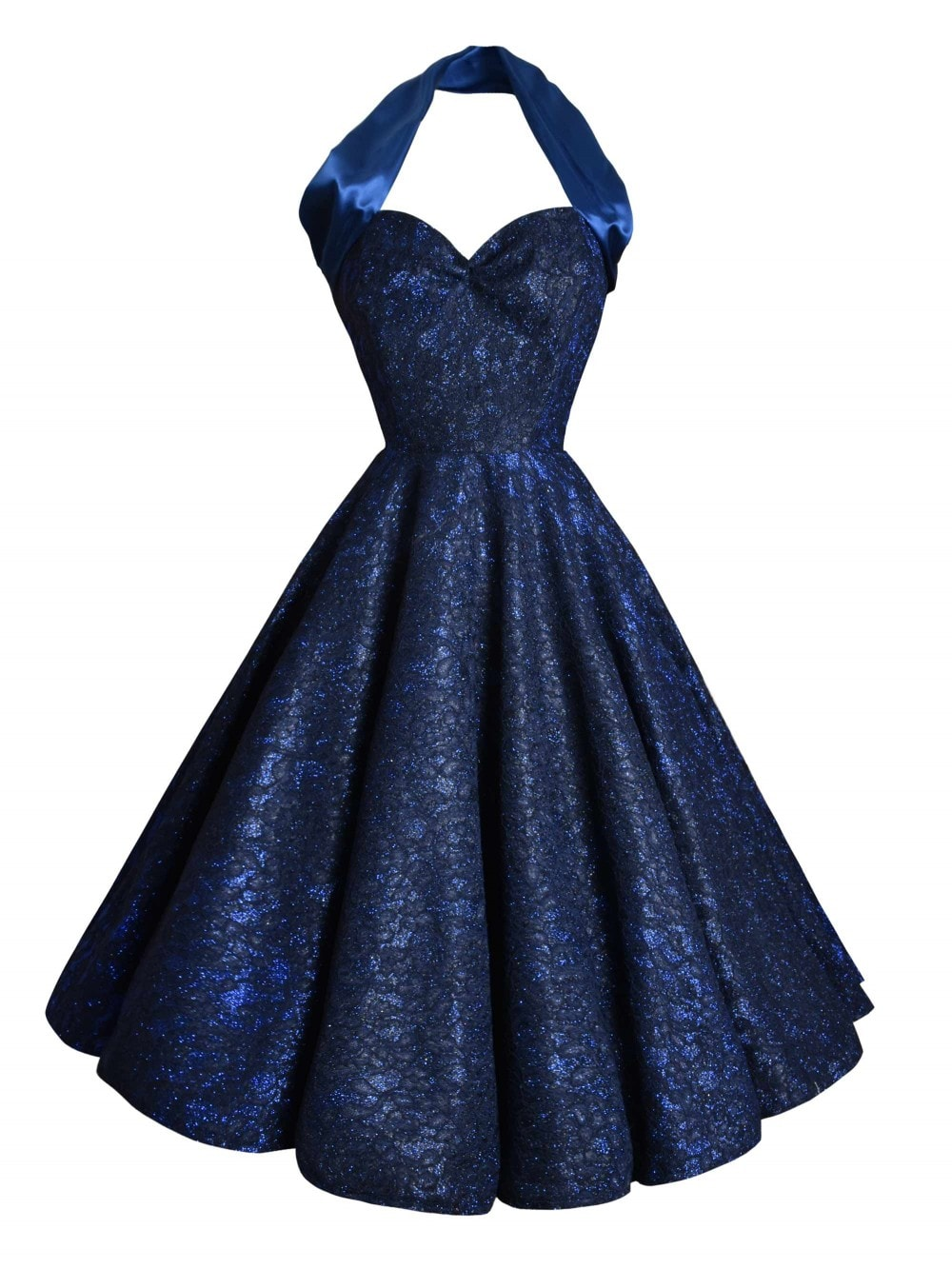 1950s Halterneck Sapphire Sparkle Dress From Vivien Of
