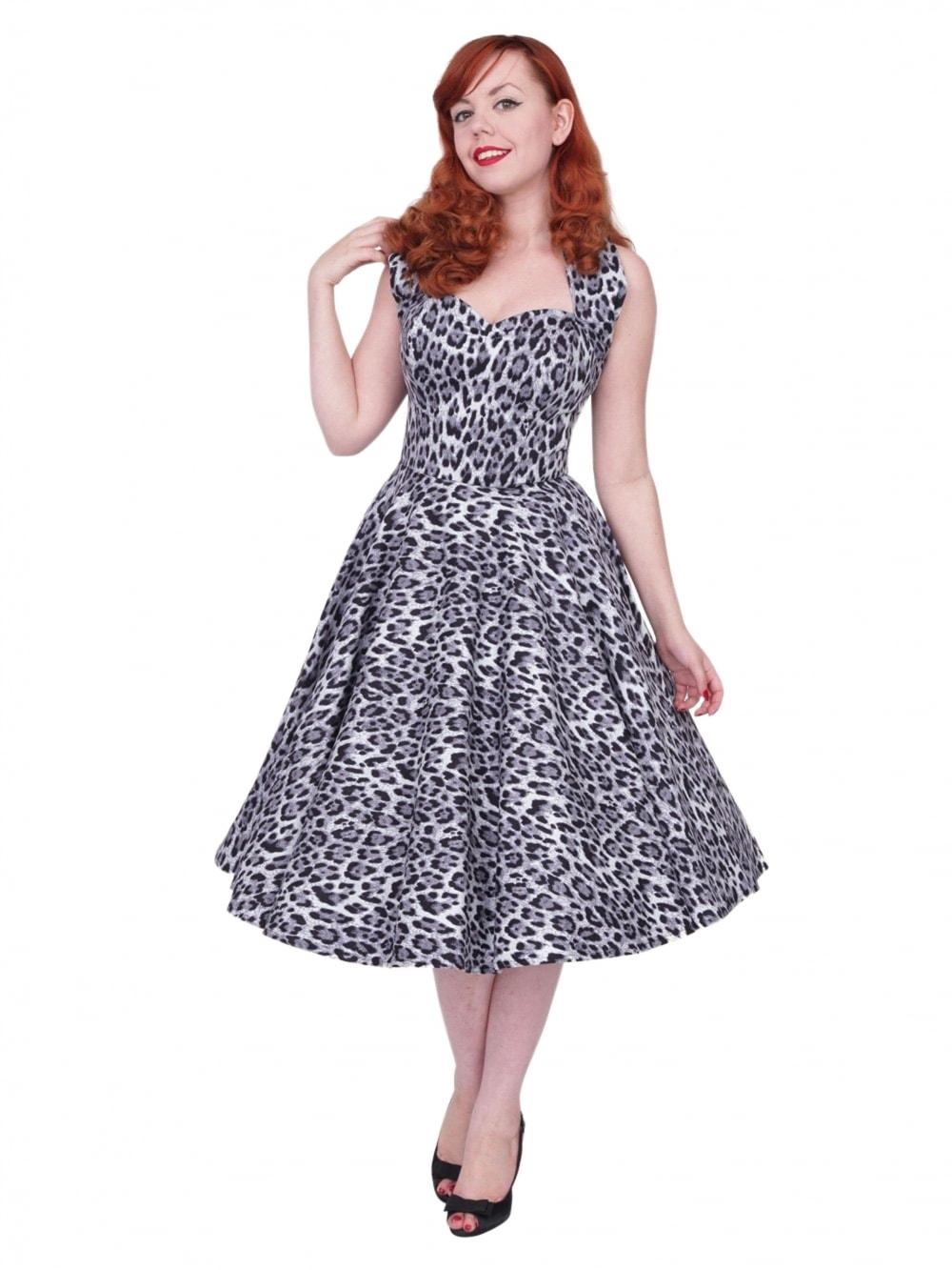 f59f8be5 1950s Halterneck Silver Leopard Dress from Vivien of Holloway