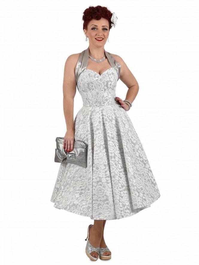 1950s Halterneck Silver Sparkle Circle Dress From Vivien