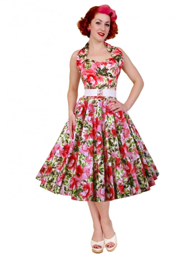 50s-1950s-Vivien-of-Holloway-Best-Vintage-Reproduction-Halterneck-Circle-Dress-Sweet-Rose-Pink-Floral-Print-Rockabilly-Swing-Pinup
