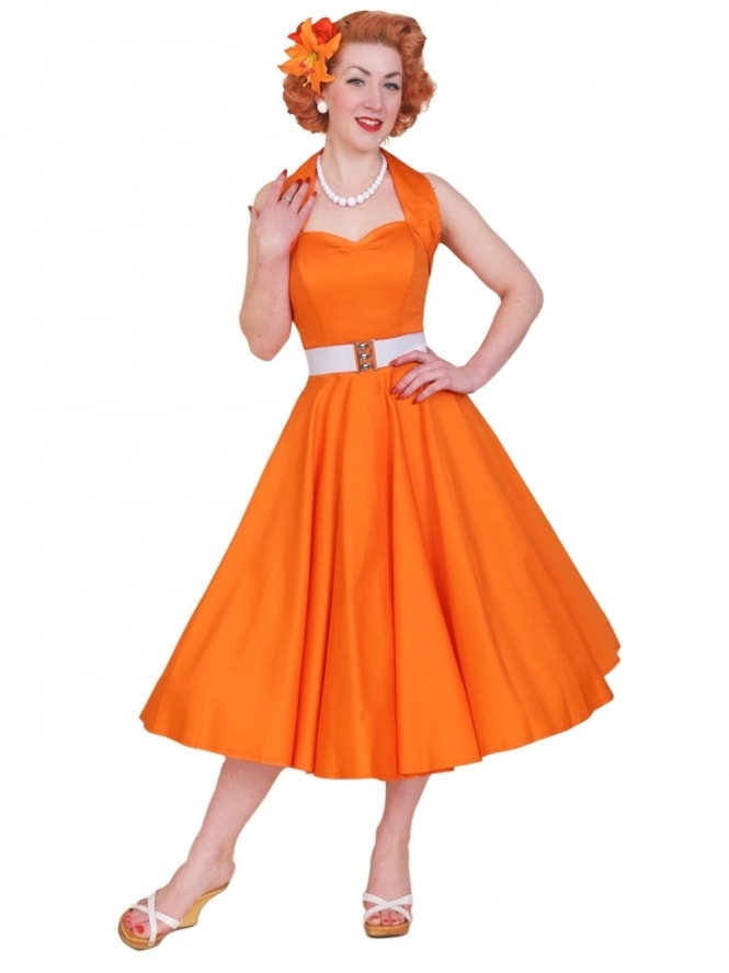 50s-1950s-Vivien-of-Holloway-Best-Vintage-Reproduction-Halterneck-Circle-Dress-Tangerine-Orange-Sateen-Rockabilly-Swing-Pinup