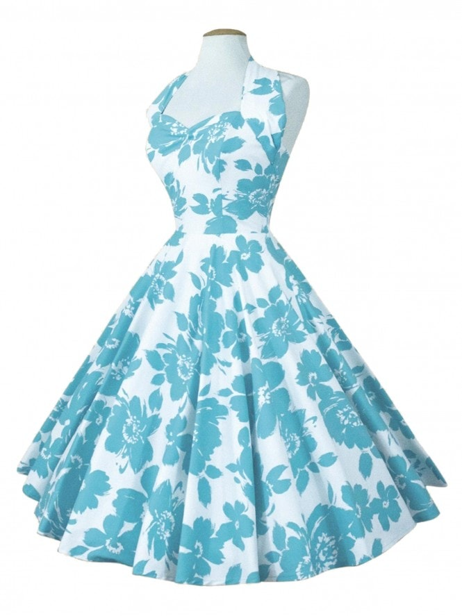 1950s Halterneck Turquoise Floral Dress From Vivien Of