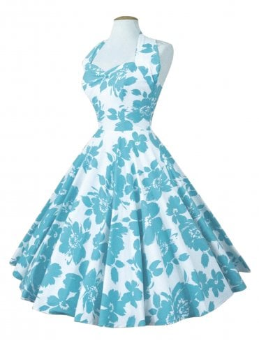 50s-1950s-Vivien-of-Holloway-Best-Vintage-Reproduction-Halterneck-Circle-Dress-Blue-White-Turquoise-Floral-Print-Rockabilly-Swing-Pinup