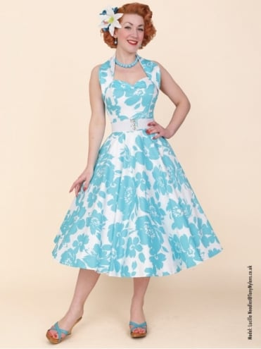 1950s Halterneck Turquoise Floral Dress