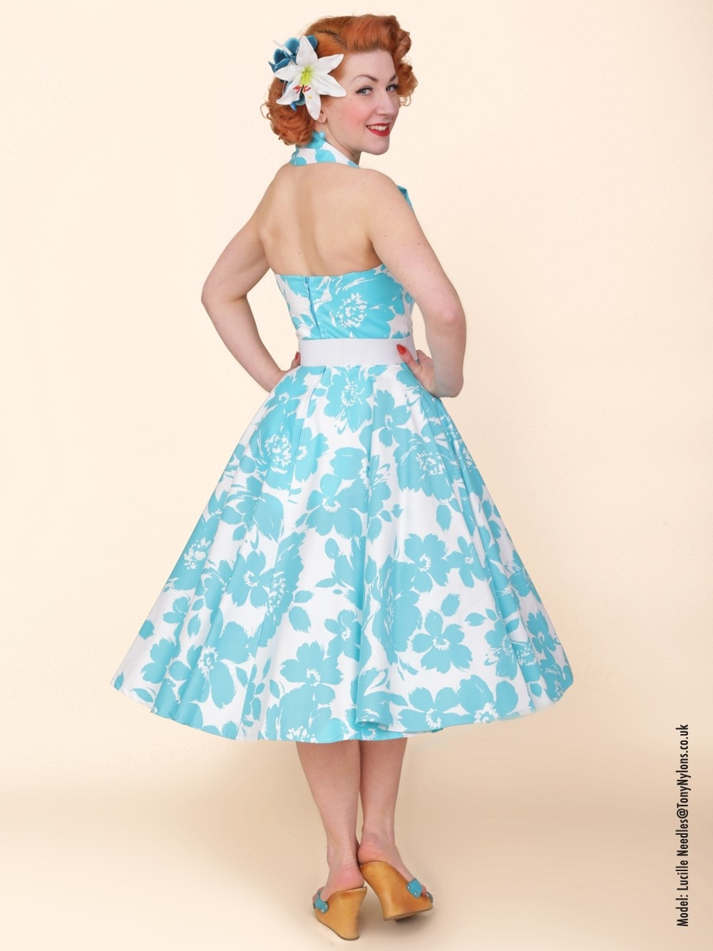 1950s Halterneck Turquoise Floral Dress from Vivien of Holloway