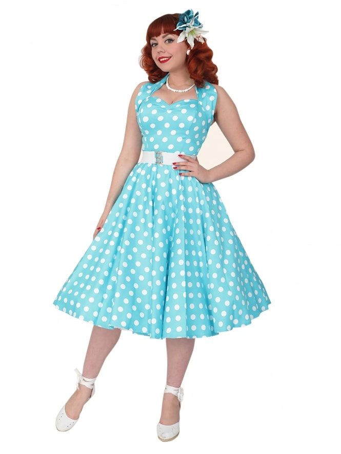 f68f5988348 1950s Halterneck Turquoise Polkadot Dress from Vivien of Holloway