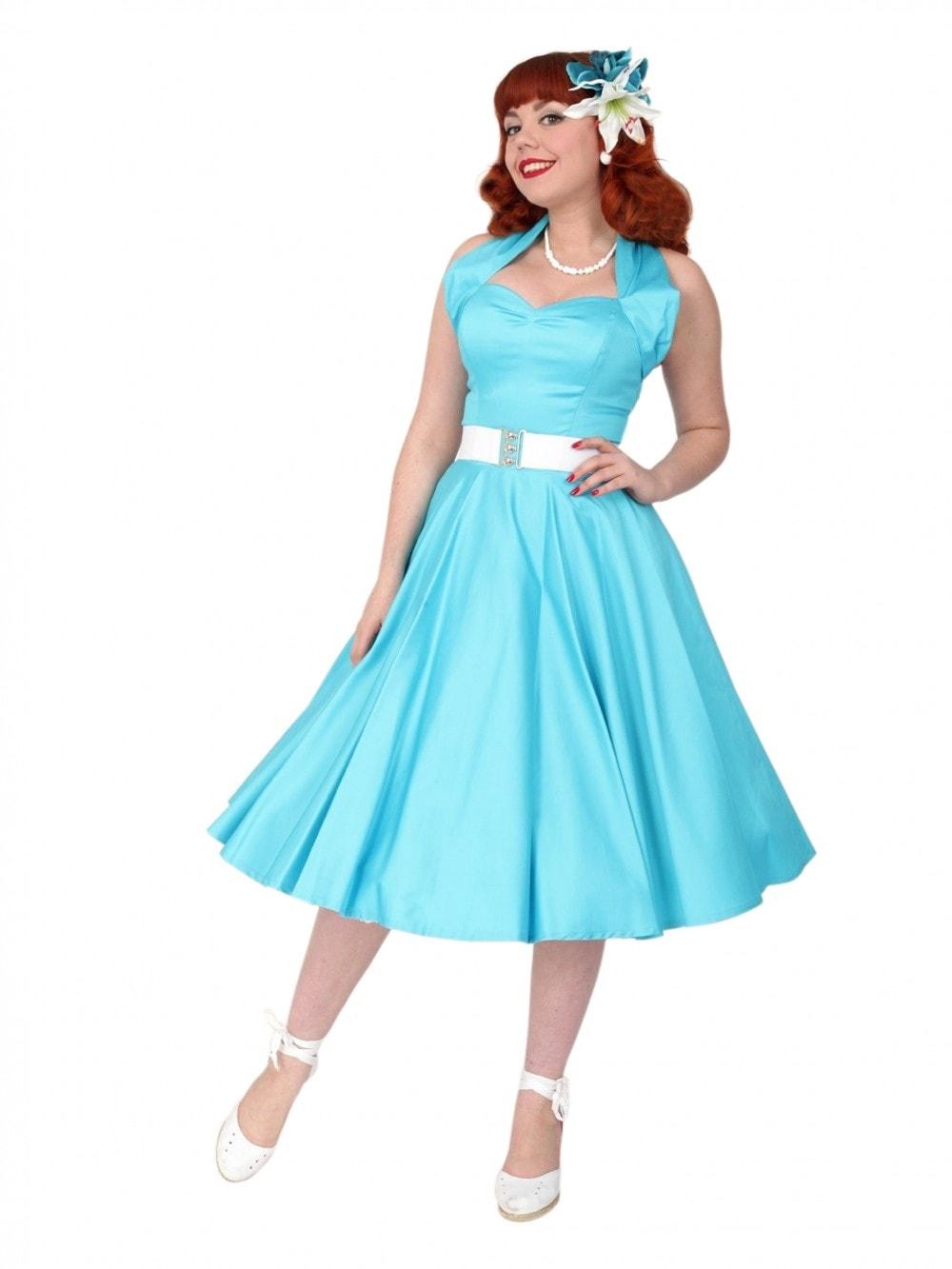 1950s Halterneck Turquoise Sateen Dress from Vivien of Holloway