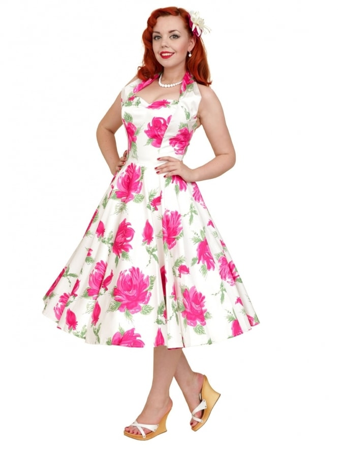 50s-1950s-Vivien-of-Holloway-Best-Vintage-Reproduction-Halterneck-Circle-Dress-Victory-Rose-Cerise-Pink-Floral-Print-Rockabilly-Swing-Pinup