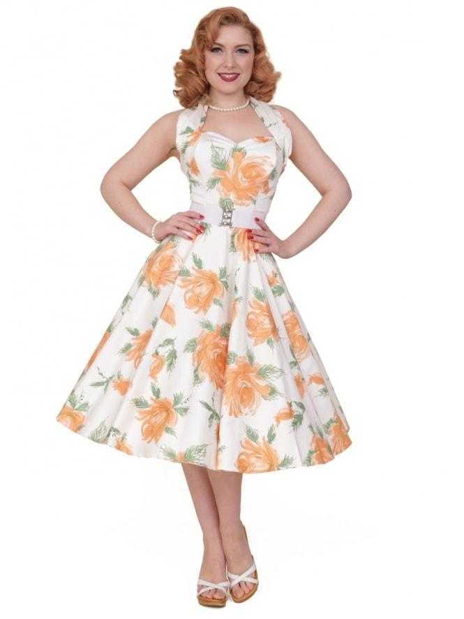 50s-1950s-Vivien-of-Holloway-Best-Vintage-Reproduction-Halterneck-Circle-Dress-Victory-Rose-Peach-Orange-Floral-Print-Rockabilly-Swing-Pinup