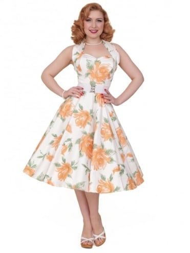 50s-1950s-Vivien-of-Holloway-Best-Vintage-Reproduction-Halterneck-Circle-Dress-Victory-Rose-Peach-Orange-Floral-Print-Rockabilly-Swing-Pinup