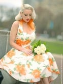 1950s Halterneck Victory Rose Peach Dress