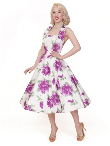 50s-1950s-Vivien-of-Holloway-Best-Vintage-Reproduction-Halterneck-Circle-Dress-Victory-Rose-Purple-Floral-Print-Rockabilly-Swing-Pinup