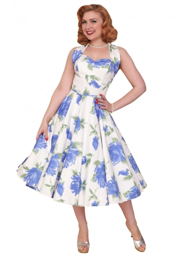 50s-1950s-Vivien-of-Holloway-Best-Vintage-Reproduction-Halterneck-Circle-Dress-Victory-Rose-Royal-Blue-Floral-Print-Rockabilly-Swing-Pinup