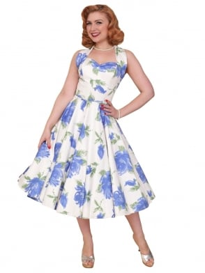 1950s Halterneck Victory Rose Royal Dress