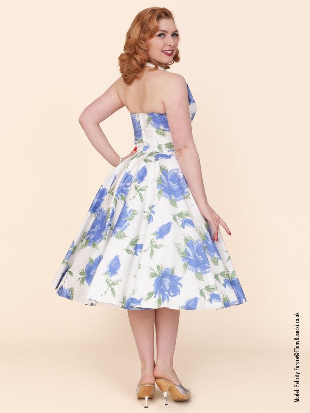 2653b82b 1950s Halterneck Victory Rose Royal Dress from Vivien of Holloway