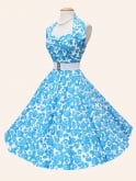 1950s Halterneck White Blue Rose Dress