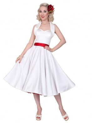 1950s Halterneck White Duchess Dress