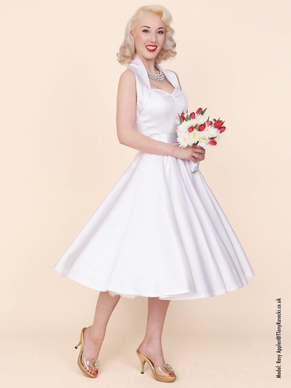 1950s Halterneck White Duchess Dress From Vivien Of Holloway