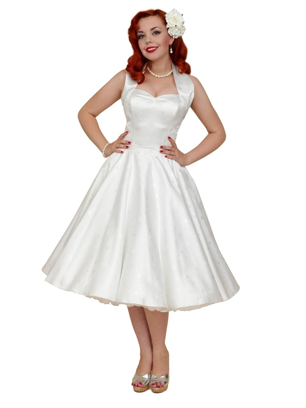 6c7b0403c58 1950s Halterneck White Star Satin Dress from Vivien of Holloway