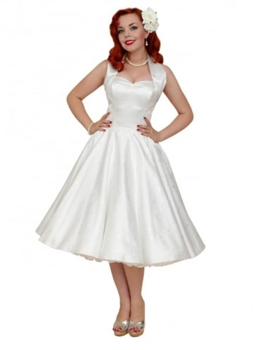 50s-1950s-Vivien-of-Holloway-Best-Vintage-Reproduction-Halterneck-Circle-Dress-White-Star-Satin-Rockabilly-Swin-Pinup