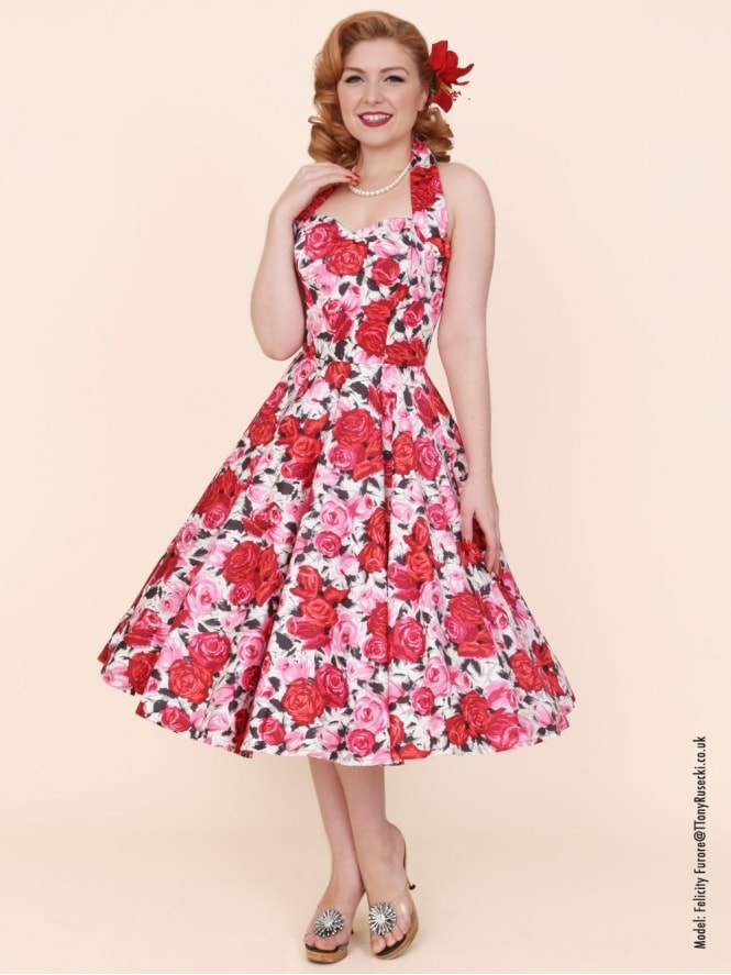 50s-1950s-Vivien-of-Holloway-Best-Vintage-Reproduction-Halterneck-Circle-Dress-Wild-Rose-Cerise-Pink-Floral-Print-Rockabilly-Swing-Pinup