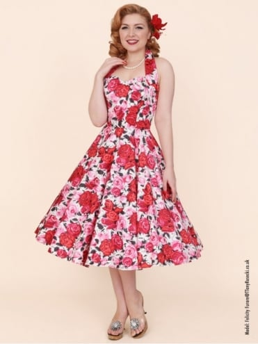 1950s Halterneck Wild Rose Cerise Dress