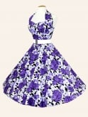 1950s Halterneck Wild Rose Purple Dress