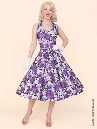 50s-1950s-Vivien-of-Holloway-Best-Vintage-Reproduction-Halterneck-Circle-Dress-Wild-Rose-Purple-Floral-Print-Rockabilly-Swing-Pinup