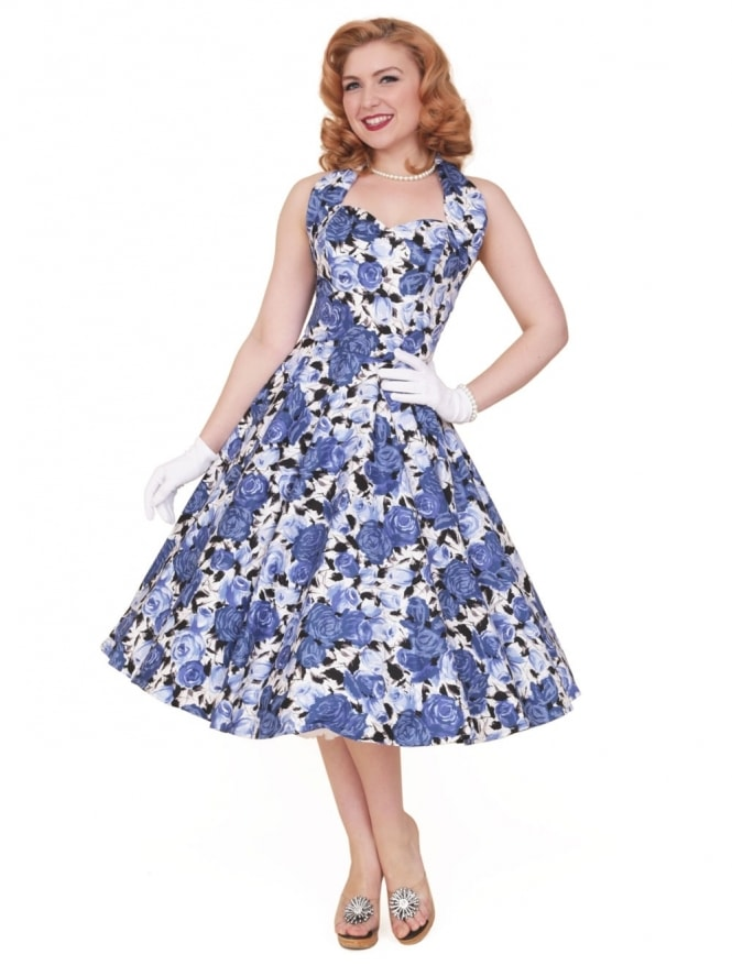 50s-1950s-Vivien-of-Holloway-Best-Vintage-Reproduction-Halterneck-Circle-Dress-Wild-Rose-Royal-Blue-Floral-Print-Rockabilly-Swing-Pinup
