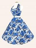 1950s Halterneck Wild Rose Royal Dress