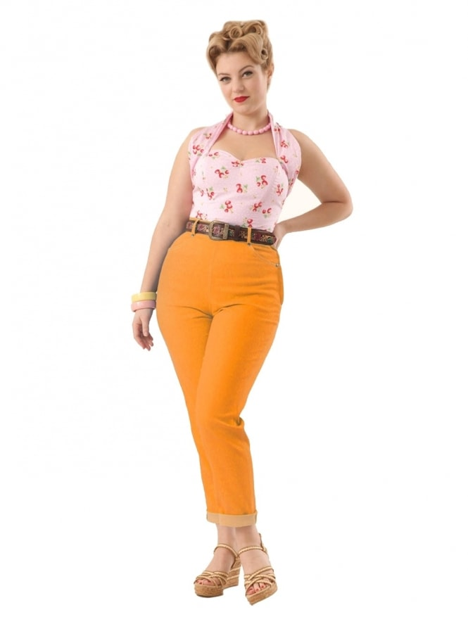 50s-1950s-Jeans-Orange-Denim-Vivien-of-Holloway-swing-pinup-rockabilly