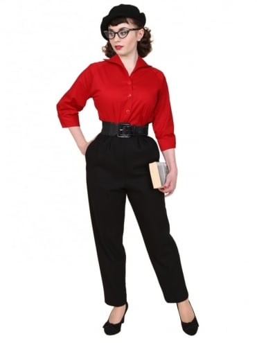 1950s Trousers Black Flannel
